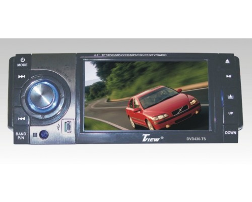DISCONTINUED - Tview DVD430-TS 4.3 Inch Single DIN Touchscreen Motorized TFT LCD Monitor and DVD Multimedia Player with Detachable Face