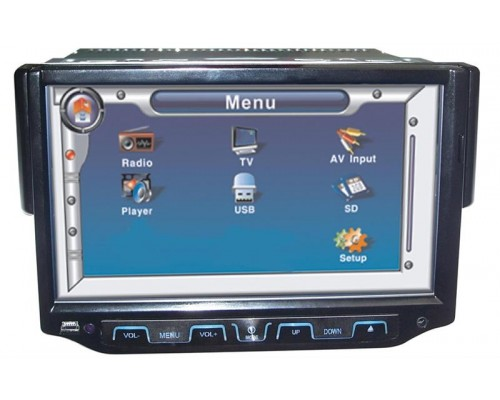 DISCONTINUED - Tview DVD71TS 7 Inch Single DIN Touchscreen Motorized TFT LCD Monitor and DVD Multimedia Player with Detachable Face