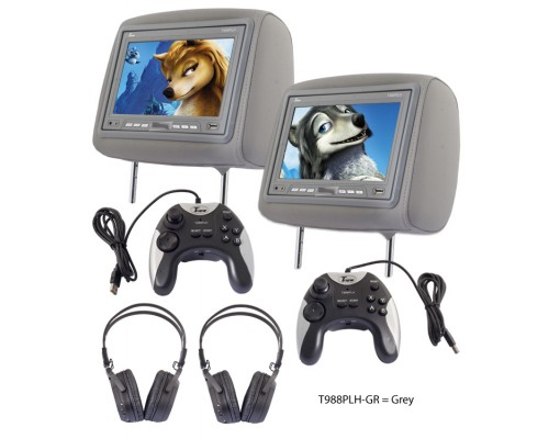 DISCONTINUED - Tview T988PLH 9 Inch Universal Replacement Headrest Monitor Pair with 2 Game Controllers and 2 Wireless Headphones Combo Package