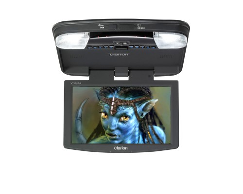 Clarion VT1010B 10.2 Inch Widescreen Overhead LCD Monitor With Built In DVD Player and USB-Secure Digital Card Ports
