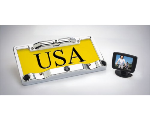 Boyo VTC433H Chrome license plate back up camera with 3 ultra sonic sensors