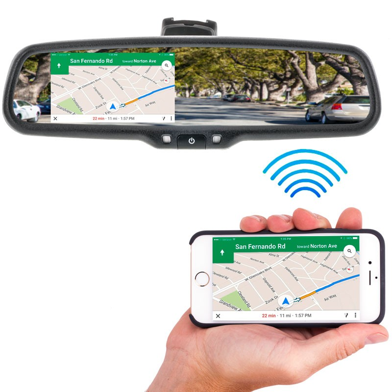 Replacement Rear-View Mirror with 4.3 TFT-LCD Backup Camera Monitor and Wi-Fi Miracast BOYO VTM43MW
