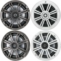 Kicker 41KM654CW KM Series 6.5 inch 2-Way Coaxial Marine Speakers - Charcoal and White
