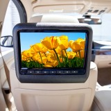 Quality Mobile Video DVD9900 9 inch Universal attachable DVD headrest Monitor system - Installed Tan interior