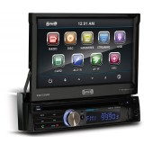 Sound Storm SD732MB Bluetooth Enabled Single DIN Media Receiver with 7-Inch Wide Flip-out Touchscreen Monitor