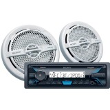 """Sony DSX-M5511BT Single DIN Marine Stereo Digital Media Receiver and (2) XS-MP1611 6.5"""" Speakers Combo"""
