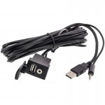 Accelevision USB35 USB and 3.5mm Rectangle Panel Jack and Extension Cable