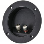 The Install Bay TCRB Circular Recessed Terminal Cup with Silver 5-Way Binding Posts - 3 inch