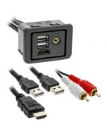 Axxess AXUSB-RAM1 HDMI, Dual USB and 3.5mm Rectangle Panel Jack and 3-foot Extension Cable