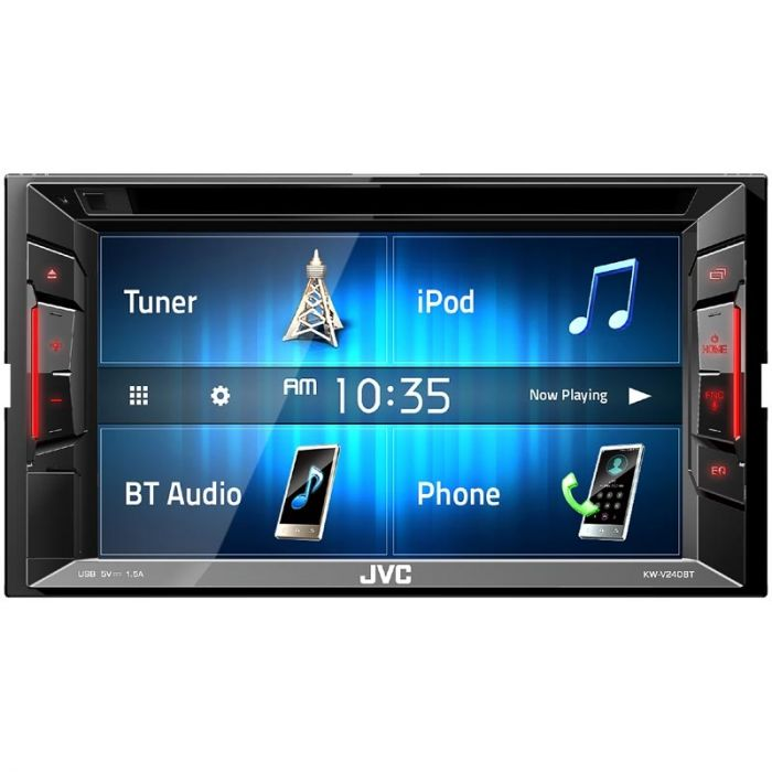Includes Backup Camera /& Steering Wheel Control Interface JVC KW-V240BT BT//DVD//CD//USB Receiver with 6.2-inch Screen