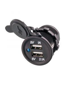 Accelevision USBR12V Flush Mount Dual USB Jack - Front panel