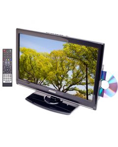 """Axess TVD1801-19 19"""" LED 12 volt TV - Front right with DVD and remote"""