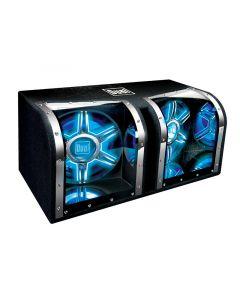 Dual BP1204 12 Inch Twin Mirrored Chambers 1100 Watt Illuminite Bandpass Enclosure Subwoofers