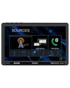 """Jensen CMM710 Single DIN Digital Media Receiver with 10"""" Floating Capacitive Touchscreen, Apple Carplay, Android Auto and SiriusXM Ready"""