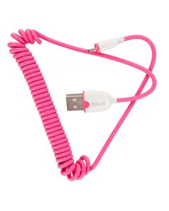 iStuff ICC-MU-PK5 USB Male to Micro USB Pink Coiled Cable - Top