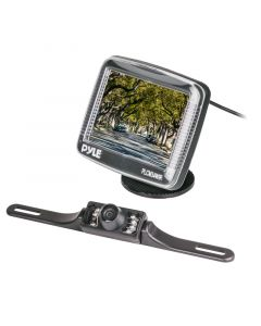 Pyle PLCM34WIR 3.5'' TFT-LCD Monitor with Wireless License Plate Back-Up Camera - Monitor and Camera