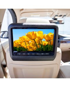Accelevision DVD9800HDMI 9 inch Universal attachable DVD headrest Monitor system - Installed Tan interior