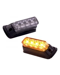 Safesight UF9100B High Power Amber 4 LED Light with Chrome Mount Flange for RV, Bus or Truck - UL9100B