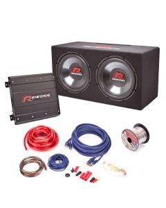 "Renegade RXV-PKG2 Dual 12"" Car Subwoofer package - Kit contents"