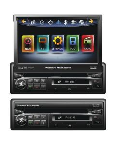 """Power Acoustik PD-740NB 7"""" Inteq Single-Din Motorized Flip-Up Multimedia Receiver With Bluetooth & Ipod Control"""