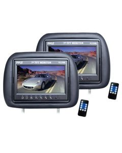 Pyle PL71PHB Universal Replacement Headrests 7 Inch LCD Monitor Pair with Adjustable Posts, Mini Speaker and IR Infrared Transmitter