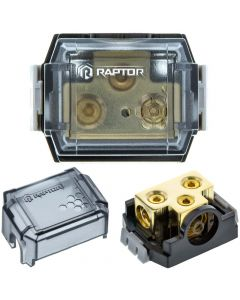 Raptor RDB3 2-Position Ground Distribution Block with (1) 0/4 AWG input and (4) 4/8 AWG outputs