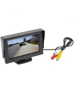 Safesight TOP-043LA 4.3 inch LCD monitor for back up cameras - Left view with sun visor