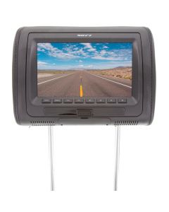 Savv LM-U7090DVD Universal Replacement 7 Inch Headrest DVD Player, with USB and SD Slots - Black front view