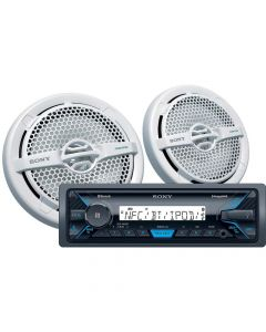 "Sony DSX-M5511BT Single DIN Marine Stereo Digital Media Receiver and (2) XS-MP1611 6.5"" Speakers Combo"