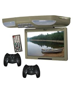 Tview T138DVFDTAN 12.1 Inch Overhead DVD player with USB/SD card reader and Wireless game controllers - Tan