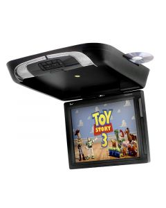 """Tview T1591DVFDBK 15"""" Overhead Flip Down Monitor with Built In DVD Player - Black"""