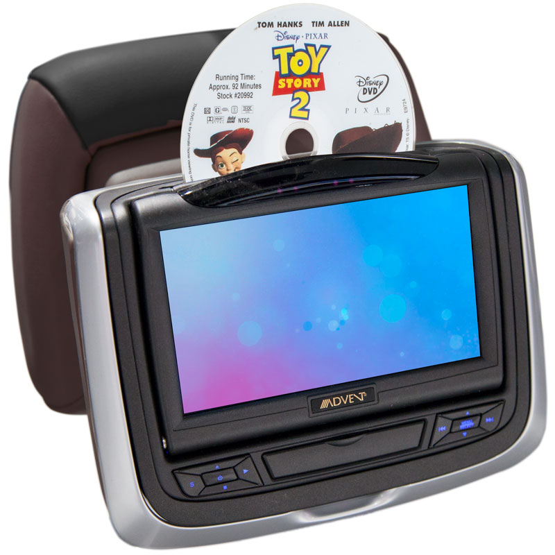 Audiovox HR7012 Swivel screen and DVD being inserted