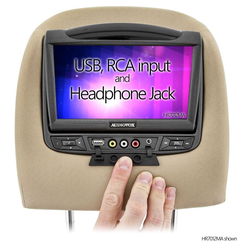 HR7012MA - RCA inputs, Headphone jack, and USB input